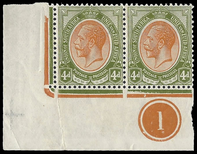 South Africa 1913 KGV 4d Plate Pair Bottom Left