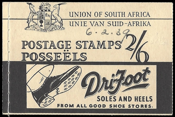 South Africa Booklet 1938 Drifoot 2/6 Complete, Rare