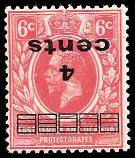 KUT 1919 4c Surcharge Inverted
