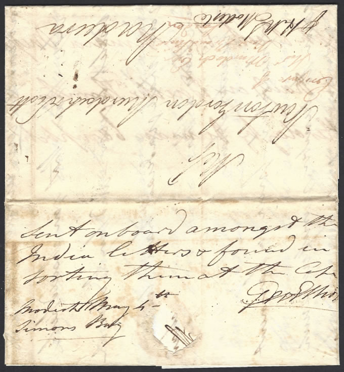 CAPE OF GOOD HOPE 1807 MISSENT INDIA LETTER RESORTED AT CAPE
