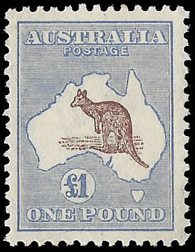 AUSTRALIA 1916 KANGAROO £1 CHOCOLATE & DULL BLUE VF/M