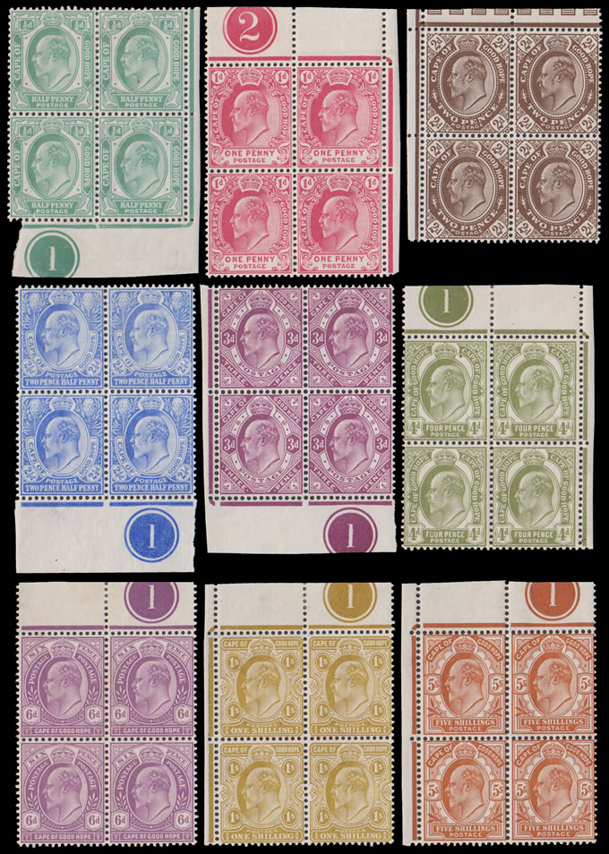 CAPE OF GOOD HOPE 1902 KEVII ½D - 5/- SET, PLATE BLOCKS