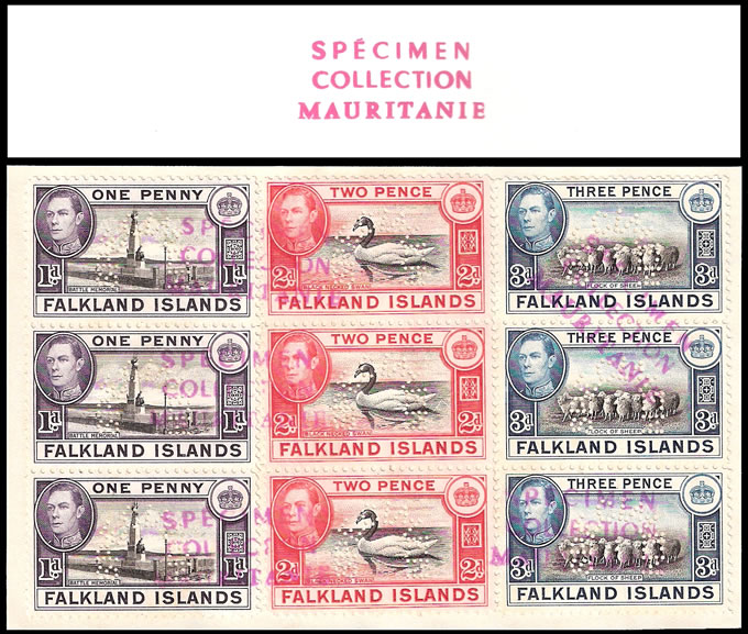 FALKLAND ISLANDS 1941 KGVI MAURITANIA ARCHIVE SPECIMENS, UNIQUE