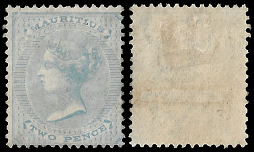MAURITIUS 1863 2D WATERMARK INVERTED, SCARCE