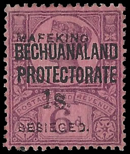 MAFEKING SIEGE 1900 SG14 1/- ON 6D PURPLE VF/M WITH CERT, RARE