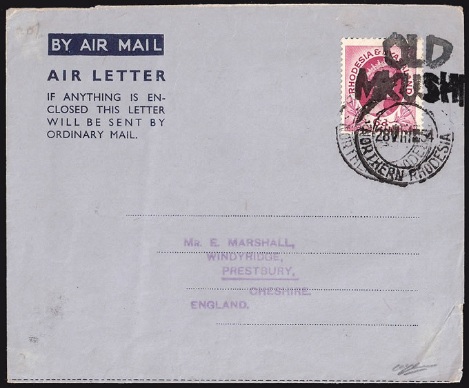 NORTHERN RHODESIA 1954 RARE OLD MKUSHI CANCEL ON LETTER