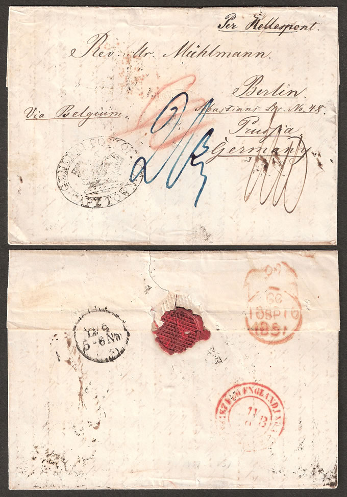 ORANGE FREE STATE 1851 BERLIN MISSIONARY PART ENTIRE, RARE