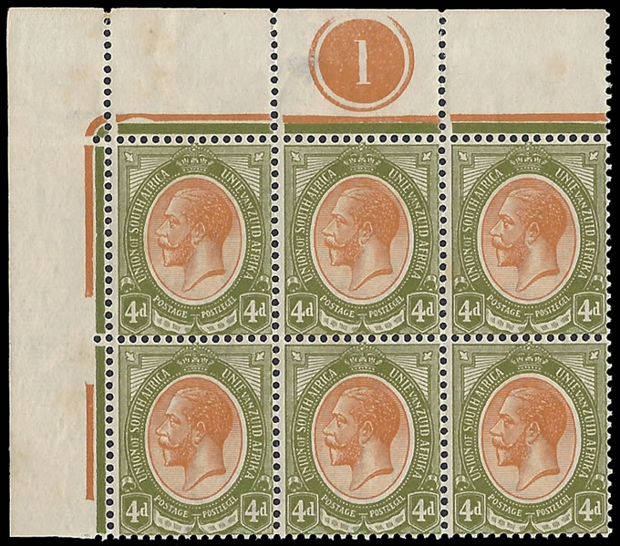 South Africa 1913 KGV 4d Plate Block, Inverted Watermark