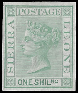 Sierra Leone 1872 QV 1/- Imperf Plate Proof, Crown Cc Paper