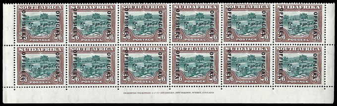 South Africa Officials 1932 2/6 London Imprint Rows, Varieties