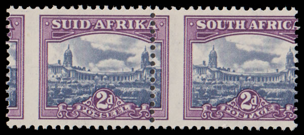 SOUTH AFRICA 1950 2D SPECTACULAR MISPERFORATED PAIR