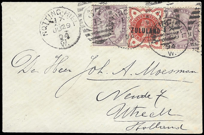 ZULULAND 1894 ZULULAND ADHESIVE USED IN GB, UNUSUAL