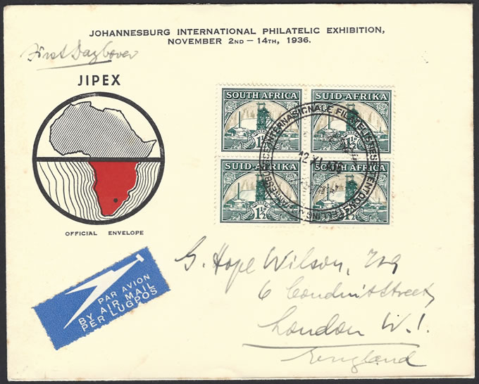 SOUTH AFRICA 1936 1½D GOLD MINE SHADING OMITTED ON FDC