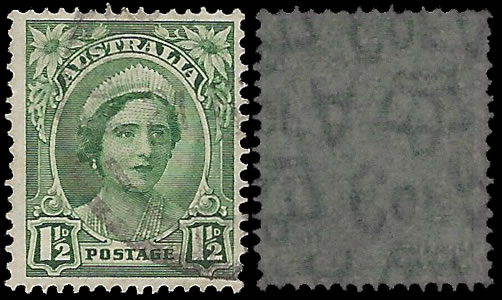 AUSTRALIA 1942 1½D, WATERMARK INVERTED, DISCOVERY COPY
