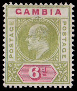 GAMBIA 1902 KEVII 6D DENTED FRAME VARIETY