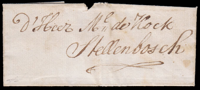 CAPE OF GOOD HOPE 1790c BRIEFSTOK LETTER TO STELLENBOSCH