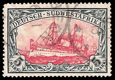 SOUTH WEST AFRICA 1906 5M YACHT NICE USED