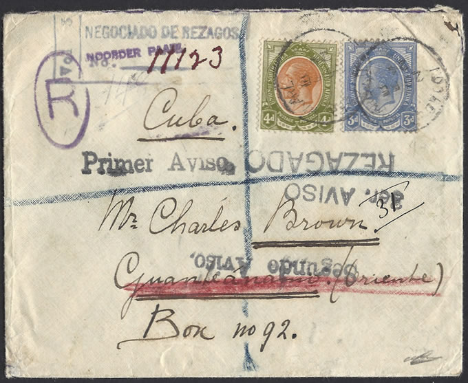 SOUTH AFRICA 1924 KGV LETTER TO GUANTANAMO CUBA, RETURNED