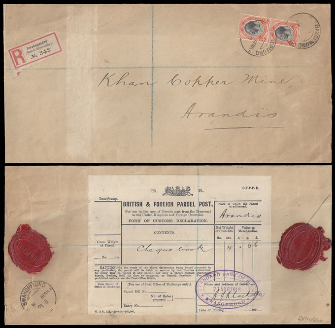 South West Africa 1916 Swakopmund Registered Letter 6d