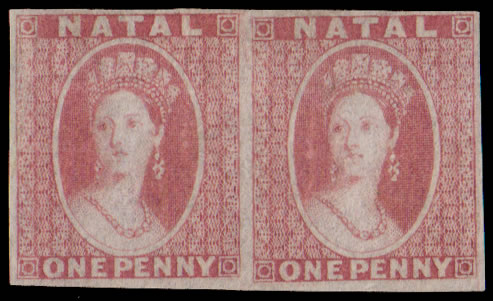 NATAL 1862 QV 1D IMPERF PLATE PROOF PAIR