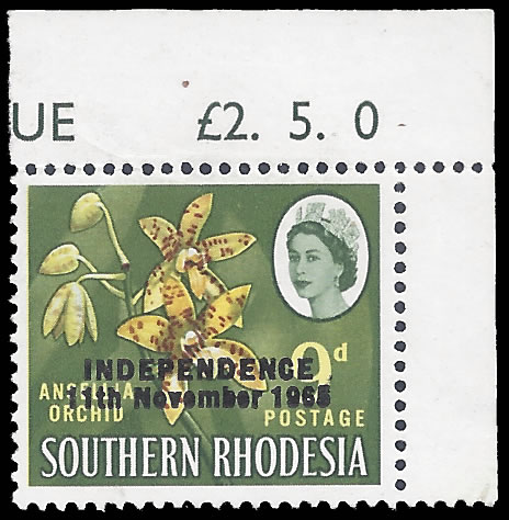 RHODESIA 1966 9D BINDA FORGERY VF/UM WITH MARGINS ATTACHED