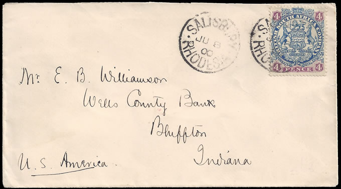 Rhodesia 1900 4d Arms on Letter to USA