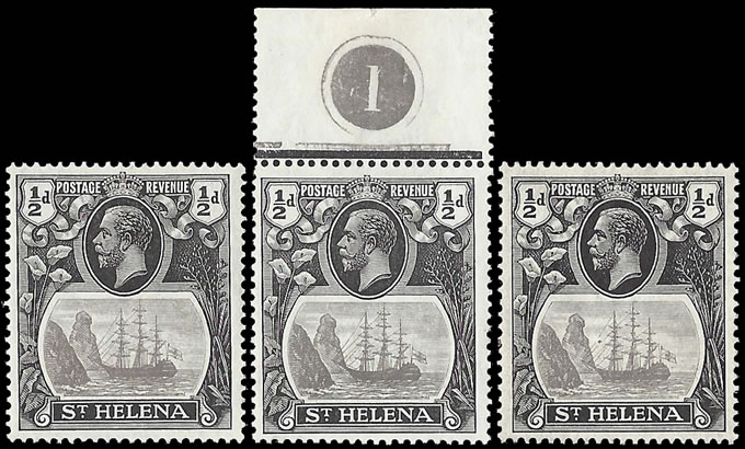 Saint Helena 1922 Badge Issue ½d Trio with Vignette Flaws