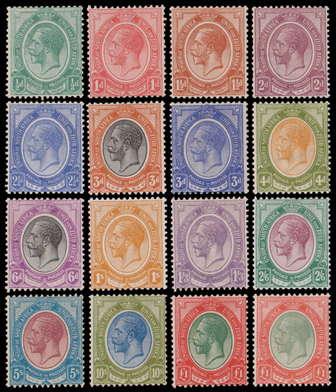 South Africa 1913 KGV ½d - £1 (Both) Full Set VF/M