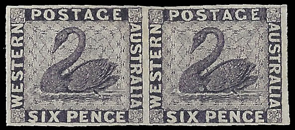 WESTERN AUSTRALIA 1861 SWAN 6D PERKINS BACON COLOUR TRIAL PAIR