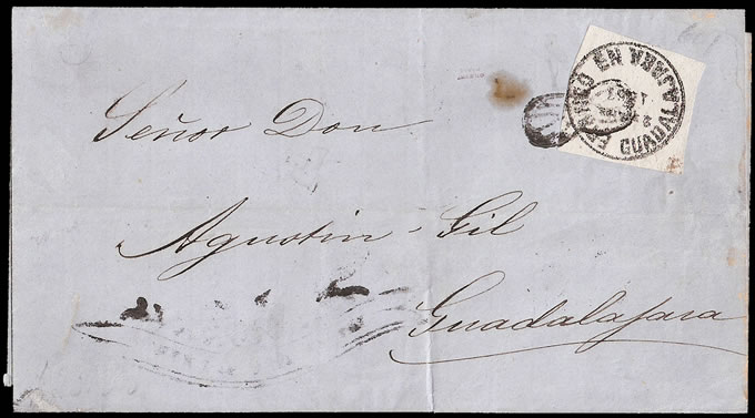 MEXICO 1867 GUADALAJARA RARE FIRST PERIOD WHITE ON LETTER