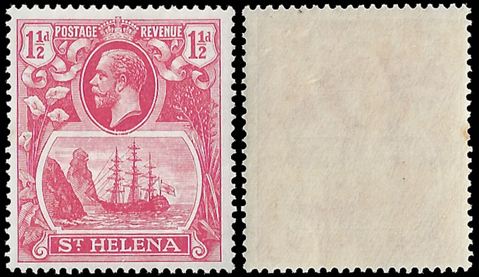 SAINT HELENA 1922 1½D CLEFT ROCK VF/M