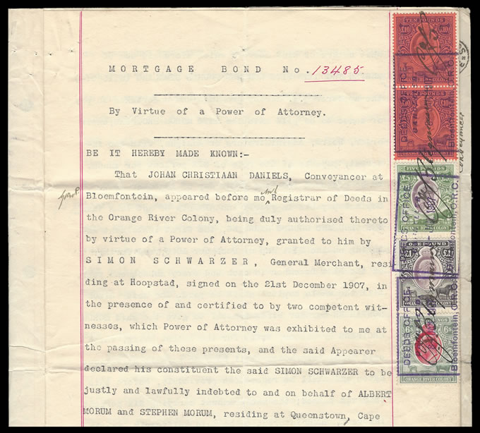 ORANGE RIVER COLONY REVENUE 1907- MORTGAGE BOND, WONDERFUL