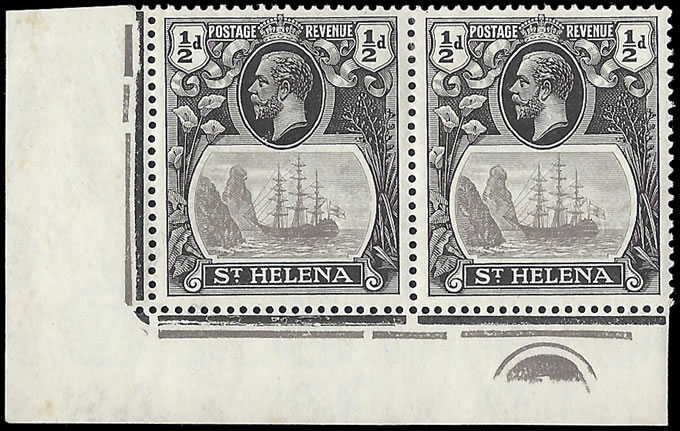 Saint Helena 1923 Badge Issue ½d Cleft Rock Plate No Pair