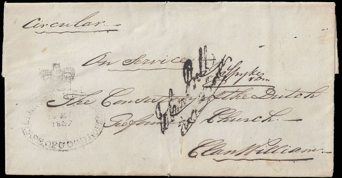 CAPE OF GOOD HOPE 1837 THIRD OFFICIAL FREE HANDSTAMP WRAPPER