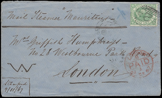 "NATAL 1867 QV 1/- LETTER PER MAIL STEAMER ""MAURITIUS"""