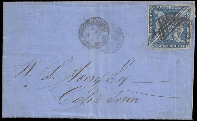 CAPE OF GOOD HOPE 1865 4D STEEL BLUE TRIANGLES DOUBLE RATE