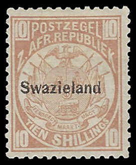 SWAZILAND 1889 10/- DULL CHESTNUT F/M, EXPERTISED - RARITY!