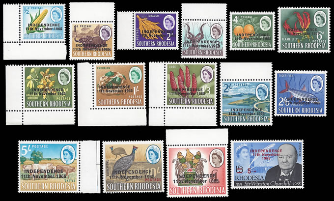 RHODESIA 1966 INDEPENDENCE ½D - £1 & CHURCHILL 5/-