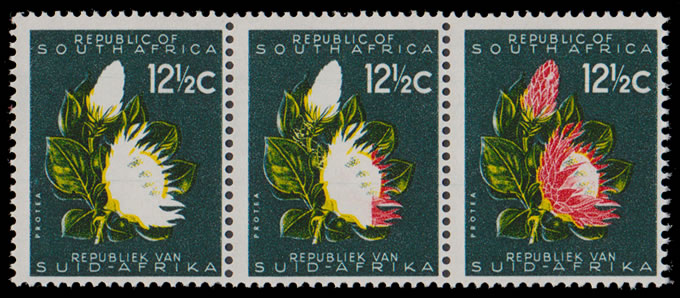 SOUTH AFRICA 1961 12½C PROTEAS RED OMITTED, RARITY!