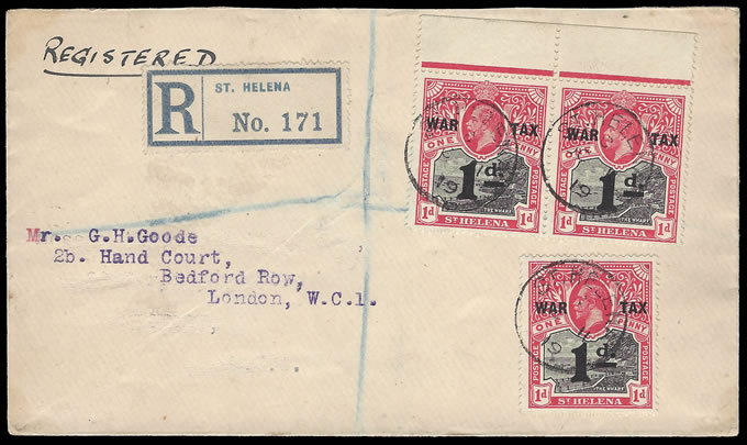 SAINT HELENA 1919 WAR TAX STAMP FRANKING ON LETTER TO UK