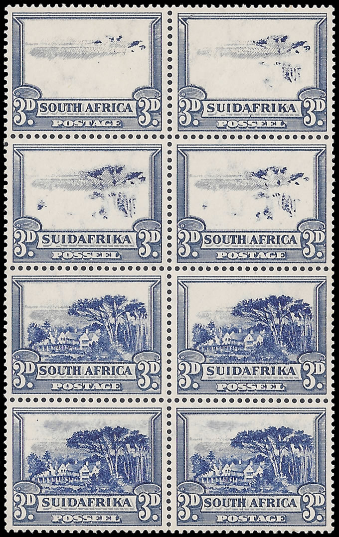 SOUTH AFRICA 1933 3D PROGRESSIVE OMISSION OF CENTRE VIGNETTES
