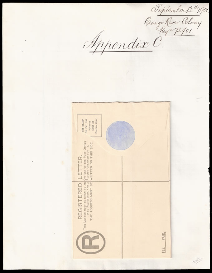 ORANGE RIVER COLONY 1901 KEVII REGISTRATION ENV APPENDIX PROOF