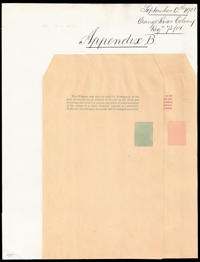 ORANGE RIVER COLONY 1901 KEVII NEWSPAPER WRAPPER APPENDIX PROOF