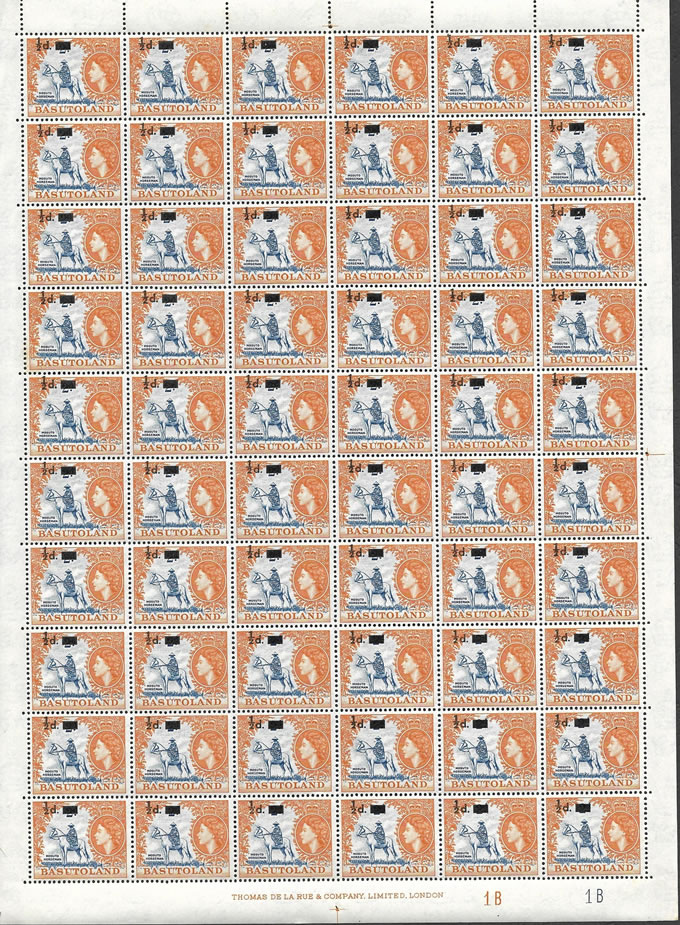 BASUTOLAND 1959 ½D ON 2D FULL SHEET WITH IMPRINTS ETC