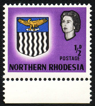 NORTHERN RHODESIA 1963 ½D VALUE SHIFTED VF/UM, RARE