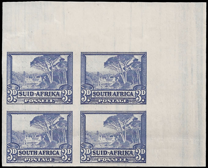 SOUTH AFRICA 1940 3D UMBRELLA TREE IMPERF CORNER BLOCK
