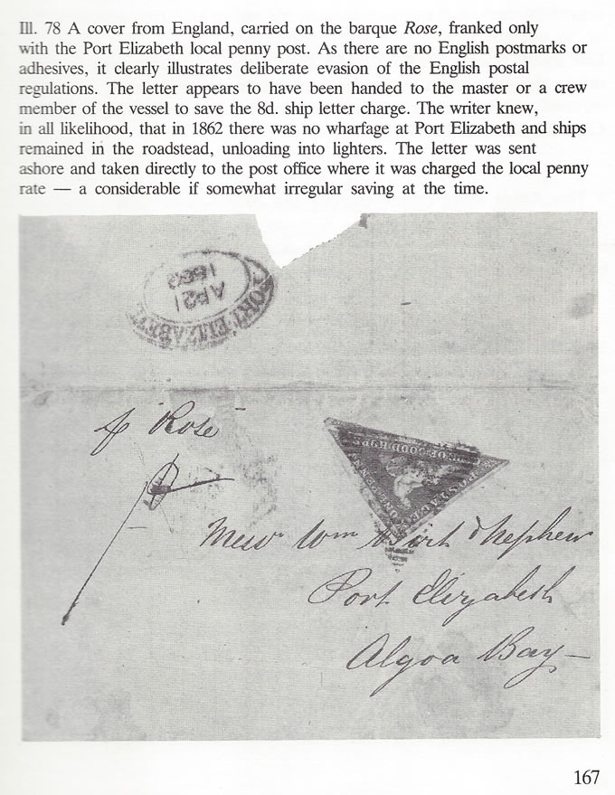 "Cape of Good Hope 1862 1d Port Elizabeth ""Drop"" Letter ""Pr Rose"" - Click Image to Close"