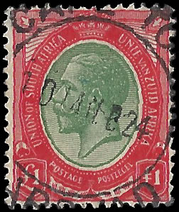 SOUTH AFRICA 1913 KGV £1 GREEN & RED VF/U