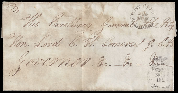 CAPE OF GOOD HOPE 1823 GOVERNORS LETTER, BATHURST CROWN