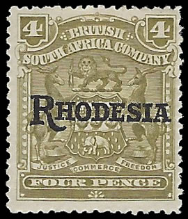 RHODESIA 1909 ARMS OVERPRINTS 4D VARIETY NO STOP